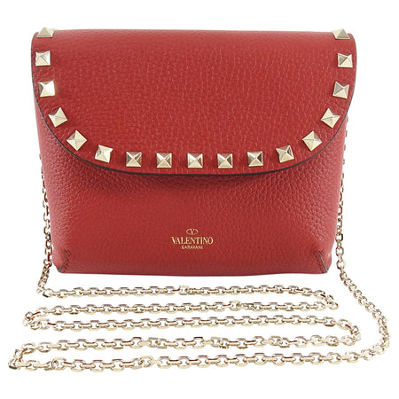 Valentino Rock Stud Small Black Double Pouch Chain Strap Bag