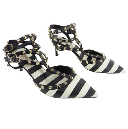 Valentino Black and Ivory Striped Triple Cage Rock Stud Heels - 40