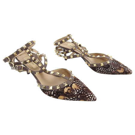 Valentino Triple Rock Stud Calf Hair Heels