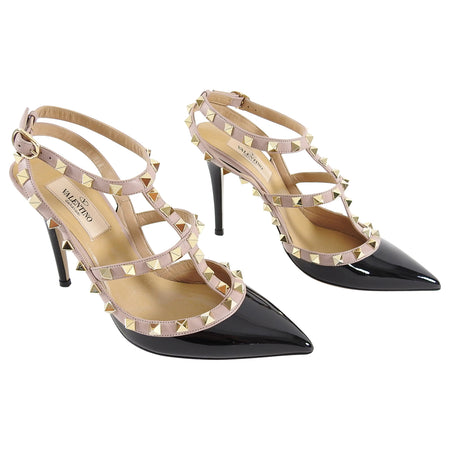 Valentino Black and Nude Rock Stud Cage Heels - 37