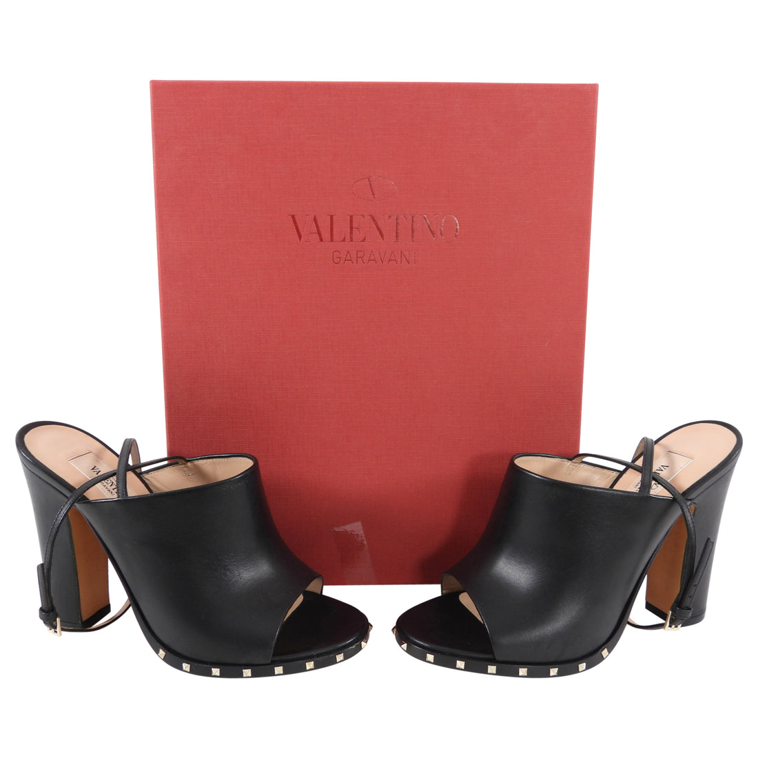 Valentino Rock Stud Black High Heel Mules with Ankle Strap - 6