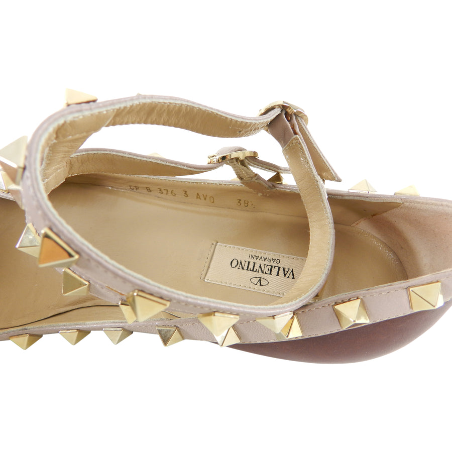 Valentino Flat Plum and Nude Rockstud Caged Flats - 38.5