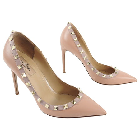 Valentino Dark Nude Rock Stud Pumps - 38