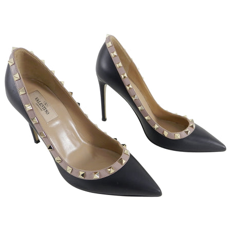 19e27c6380ba Valentino Black and Nude Rock Stud Pumps - 38