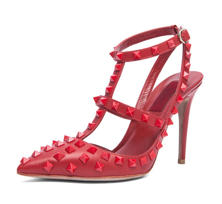 Valentino Rogue All Over Rockstud Red on Red Heels 100mm - 40