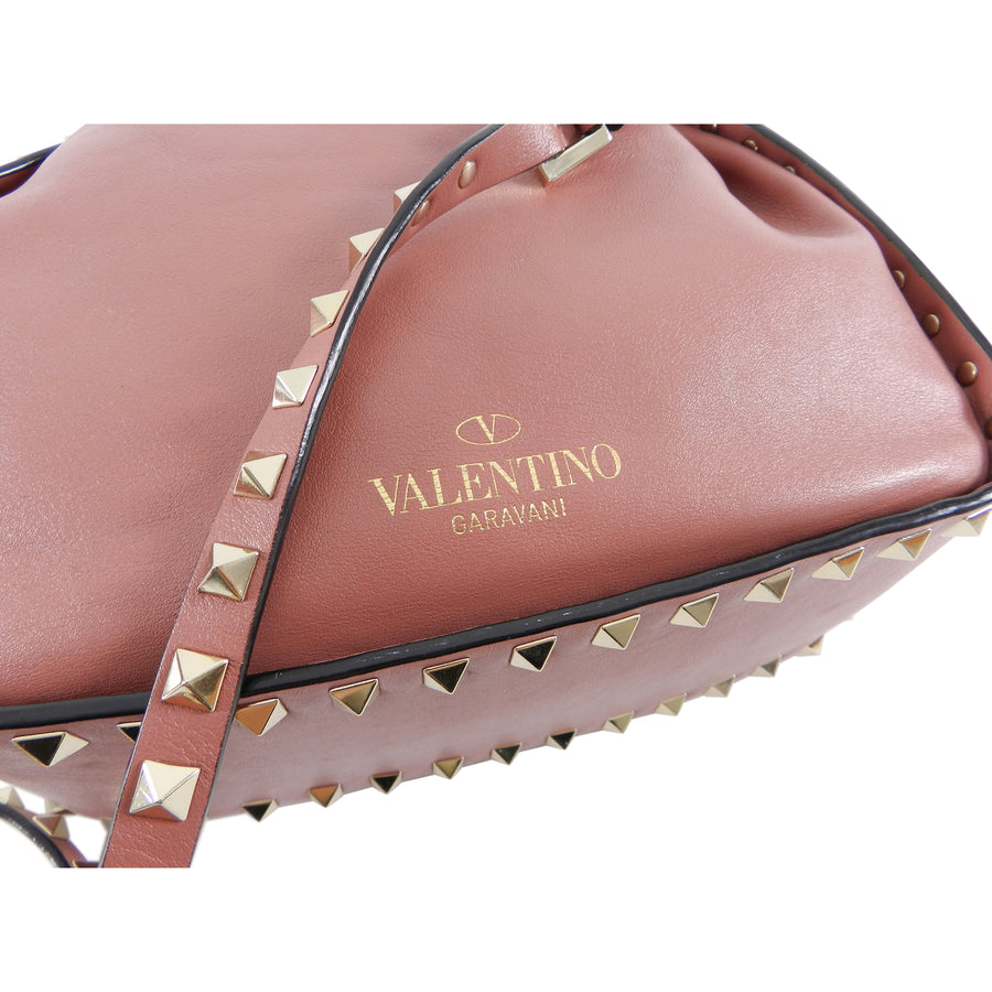 Valentino Small Dusty Rose Pink Rock Stud Drawstring Bag