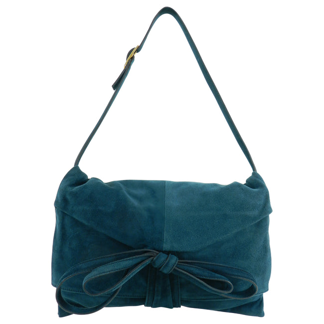Valentino Dark Green Teal Suede Ribbon Shoulder Bag