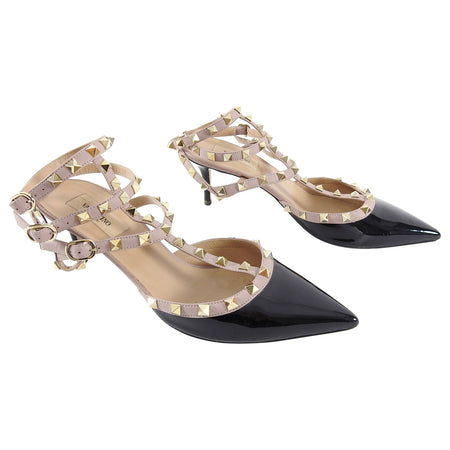Valentino Triple Rock Stud Nude and Black Patent Heels - 41