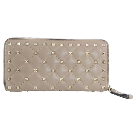 Valentino Beige Quilt Rock Stud Zip Around Wallet