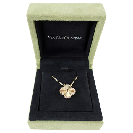 Van Cleef and Arpels 18k Gold Alhambra Guilloche Pendant Necklace