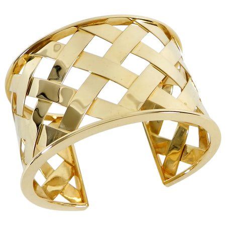 Verdura 18k Yellow Gold Criss Cross Cuff Bracelet