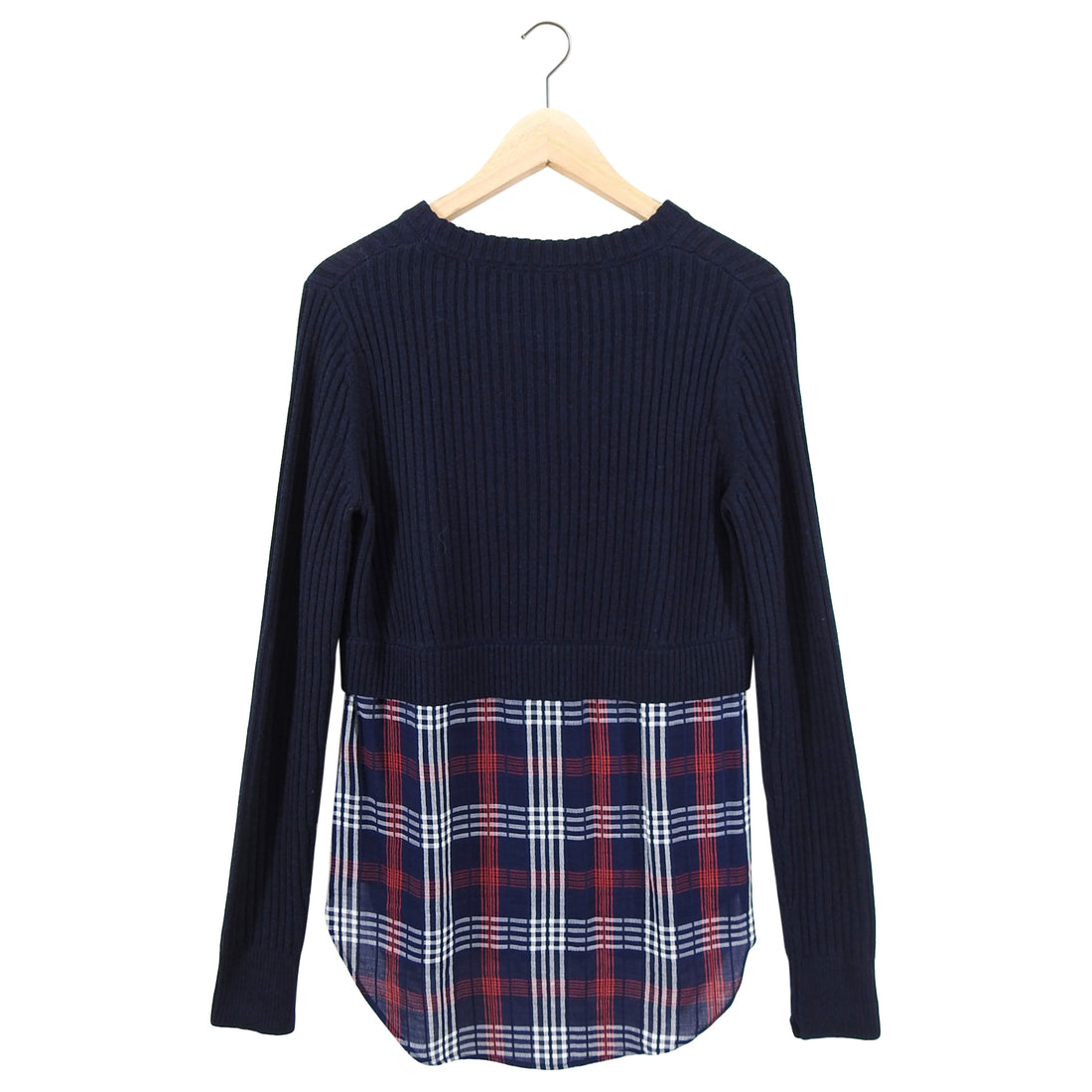 Veronica Beard Navy Garrett Wool Knit Sweater with Plaid Inset - S/M
