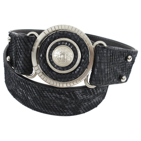 Vintage 1990's Gianni Versace Grey and Black Medusa Leather Belt