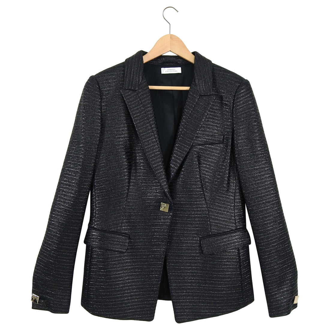 Versace Collection Black Coated Blazer Jacket - 10