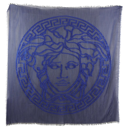 Versace Sheer Navy Wool Blend Medusa 140cm Shawl Wrap Scarf