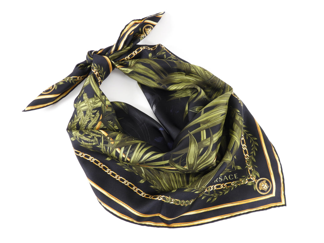 Versace Black Panther Jungle Design Silk Twill Scarf