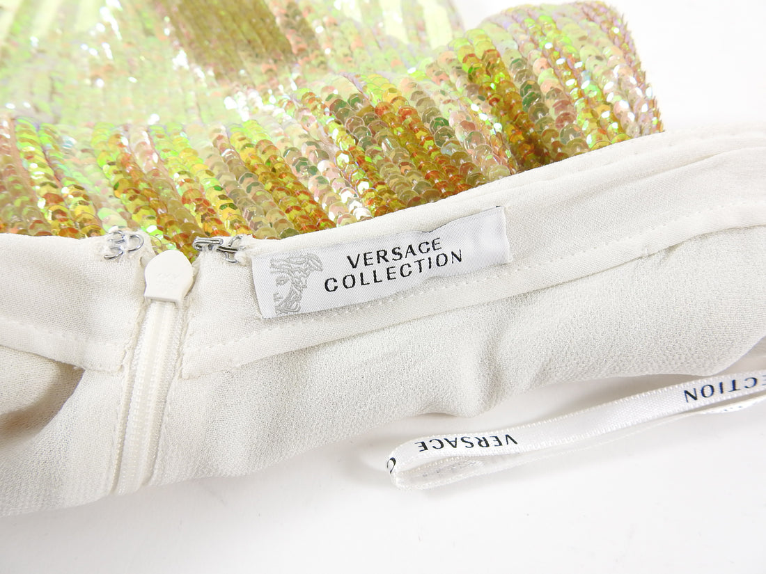 Versace Collection Iridescent Yellow Ombre Sequin Mini Skirt - S