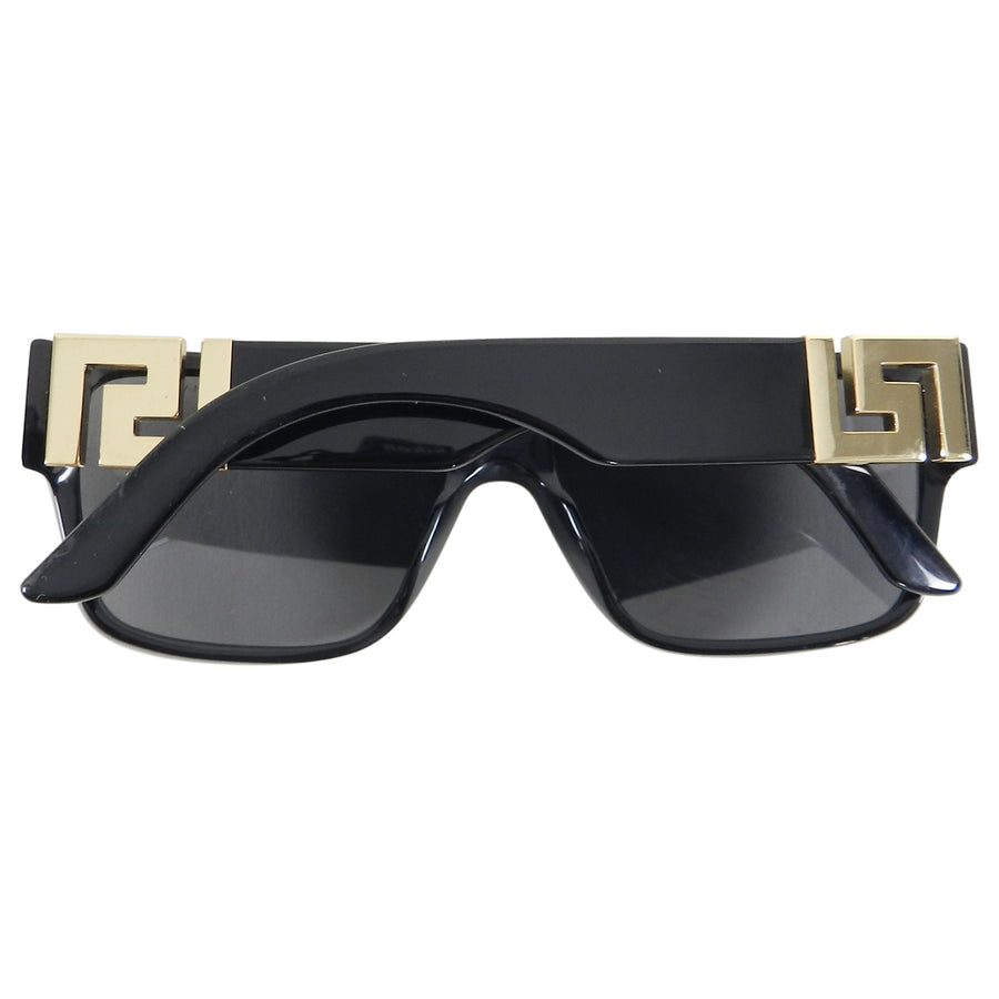 Versace Black Sunglasses with Gold Greek Key Sides 4296