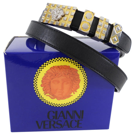 Versace Vintage 1990's Black Thin Medusa Buckle Belt - 85/34