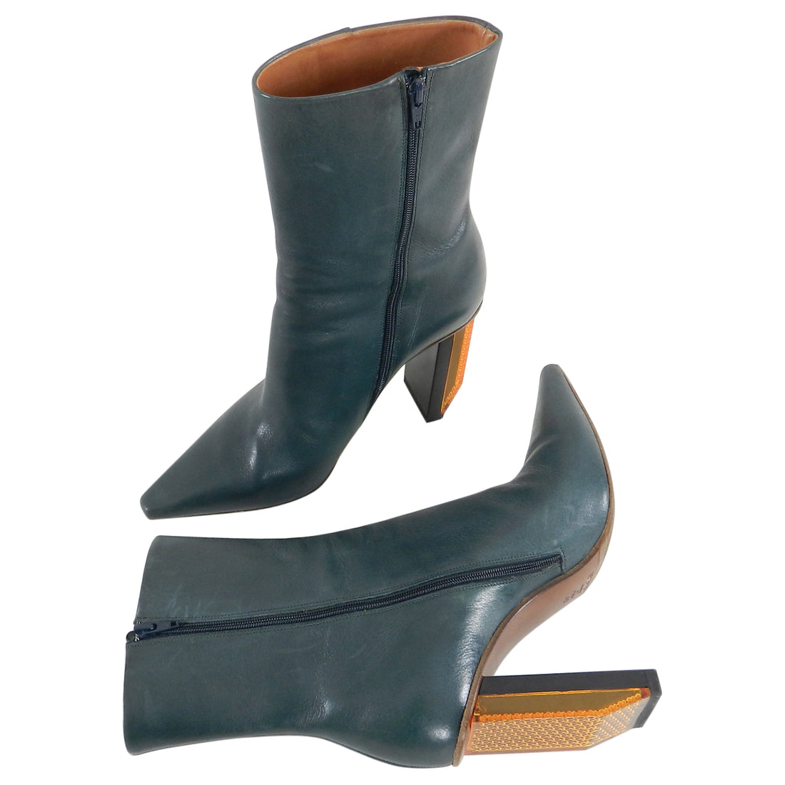Vetements Blue Leather Reflector Ankle Boots - 40