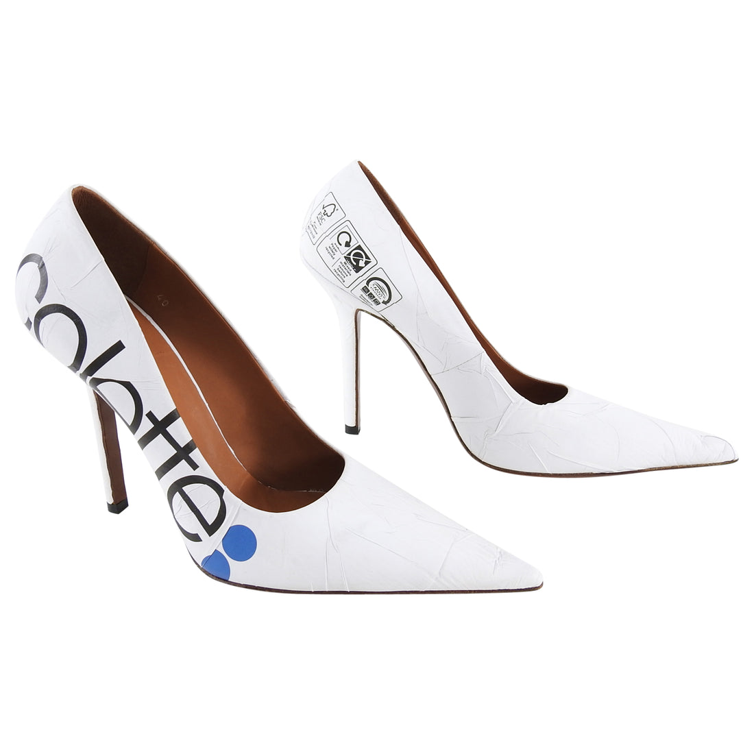 Vetements Colette White Pointy Toe Pumps Heels - 40