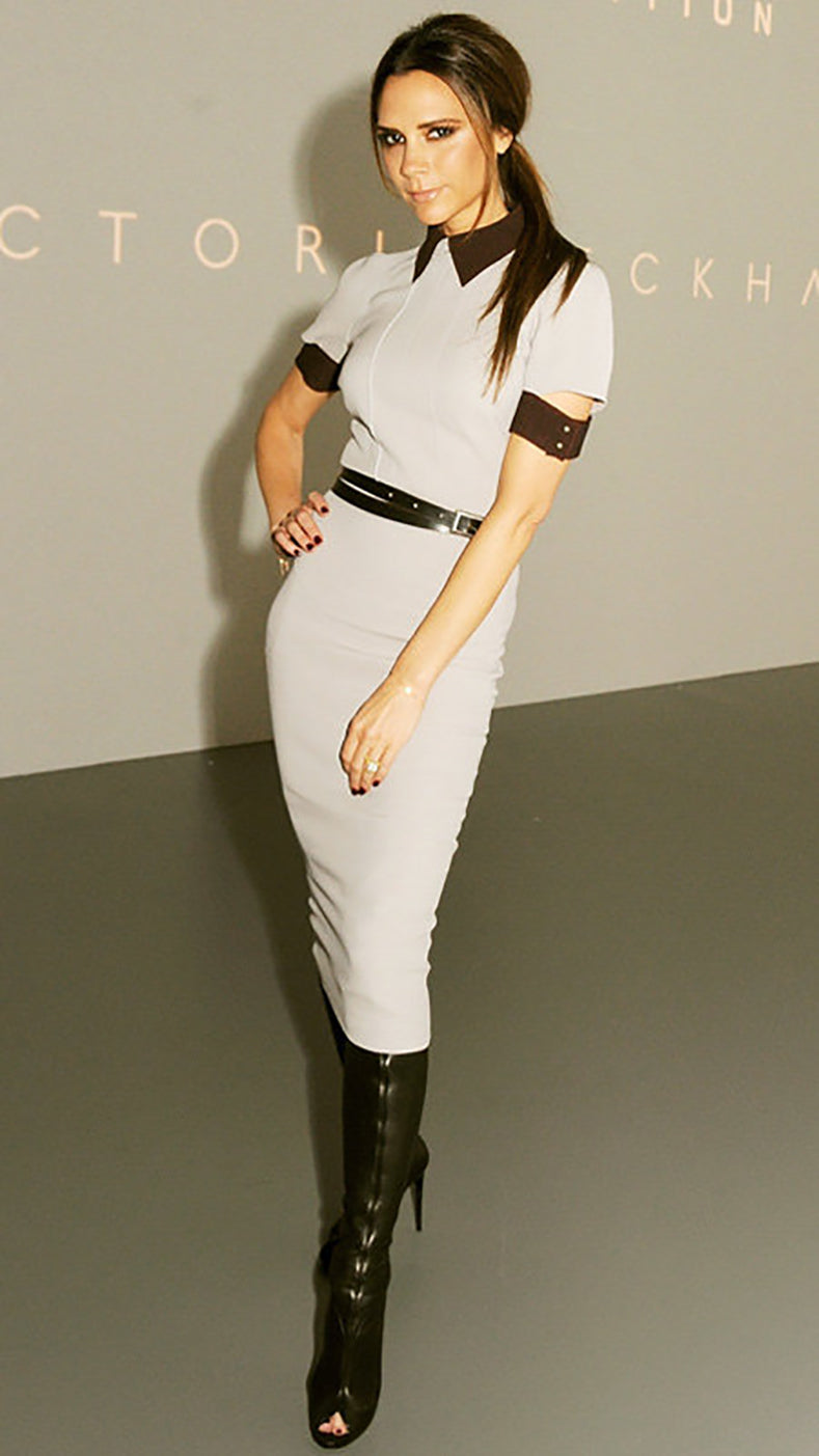 Victoria Beckham Beige Wiggle Dress with Cap Sleeve - 4
