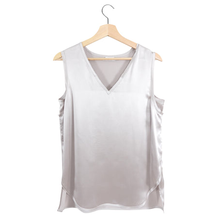 Vince Pale Rose Quartz Silk Satin V Neck Sleeveless Blouse - M