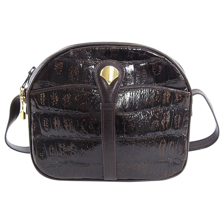 Vintage 1980's Dark Brown Crocodile Exotic Crossbody Bag