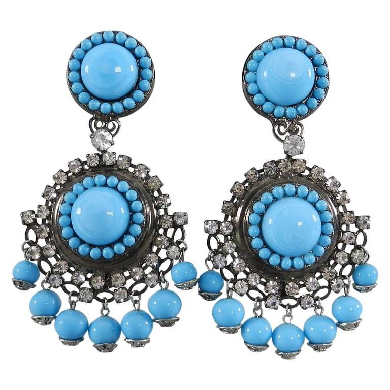 Lawrence VRBA Turquoise Glass & Rhinestone Statement Drop Earrings