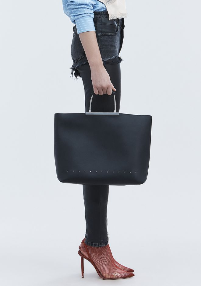 Alexander Wang Black Zip Top Logo Letters Dime Tote Bag
