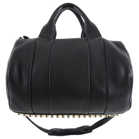 Alexander Wang Black Grained Leather Gold Studs Rocco Bag