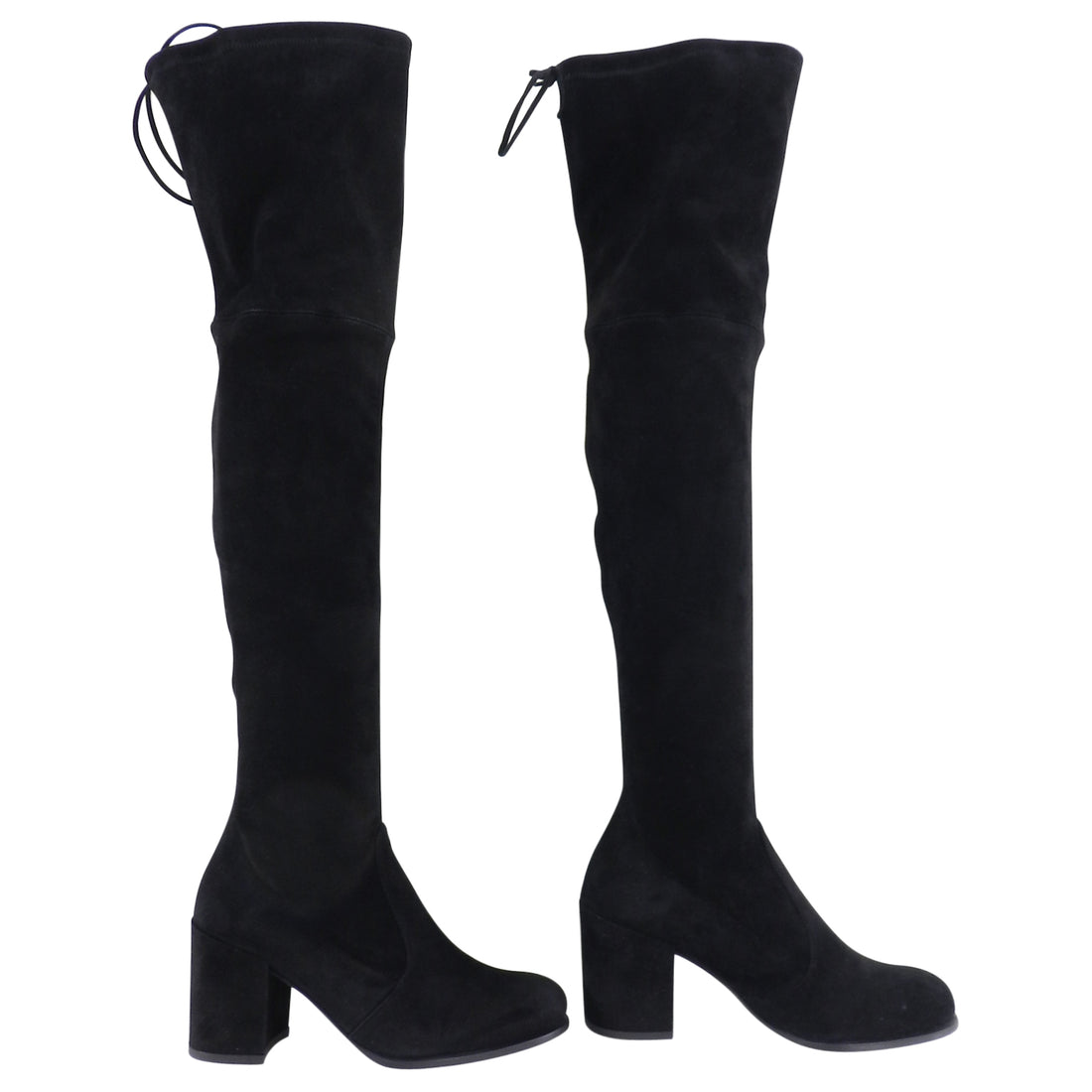 Stuart Weitzman Black Stretch Over the Knee Tieland Boots - 38.5