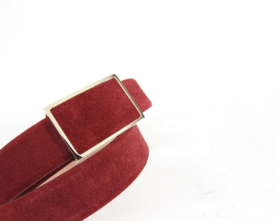 Wolford Dark Red Suede Square Buckle Belt - 70 / 28