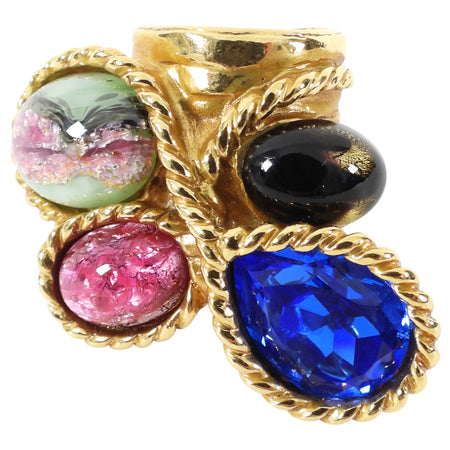 Yves Saint Laurent Arty Multi Jewel Cluster Ring - 6