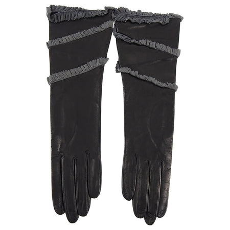 YSL Yves Saint Laurent Vintage 1990's Black Leather Grey Ruffle Gloves