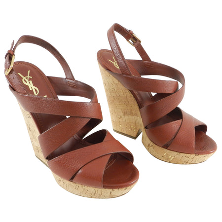 YSL Brown Deauville Cork Wedge Sandals - 41
