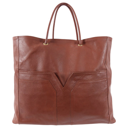 Yves Saint Laurent Brown Leather Large Sac Chyc Tote Bag