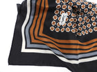 YSL Vintage 1970's Brown Geometric Silk Square Scarf