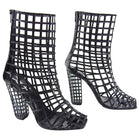 YSL Yves Saint Laurent Iconic 2009 Runway Black Cage Ankle Boots - 40