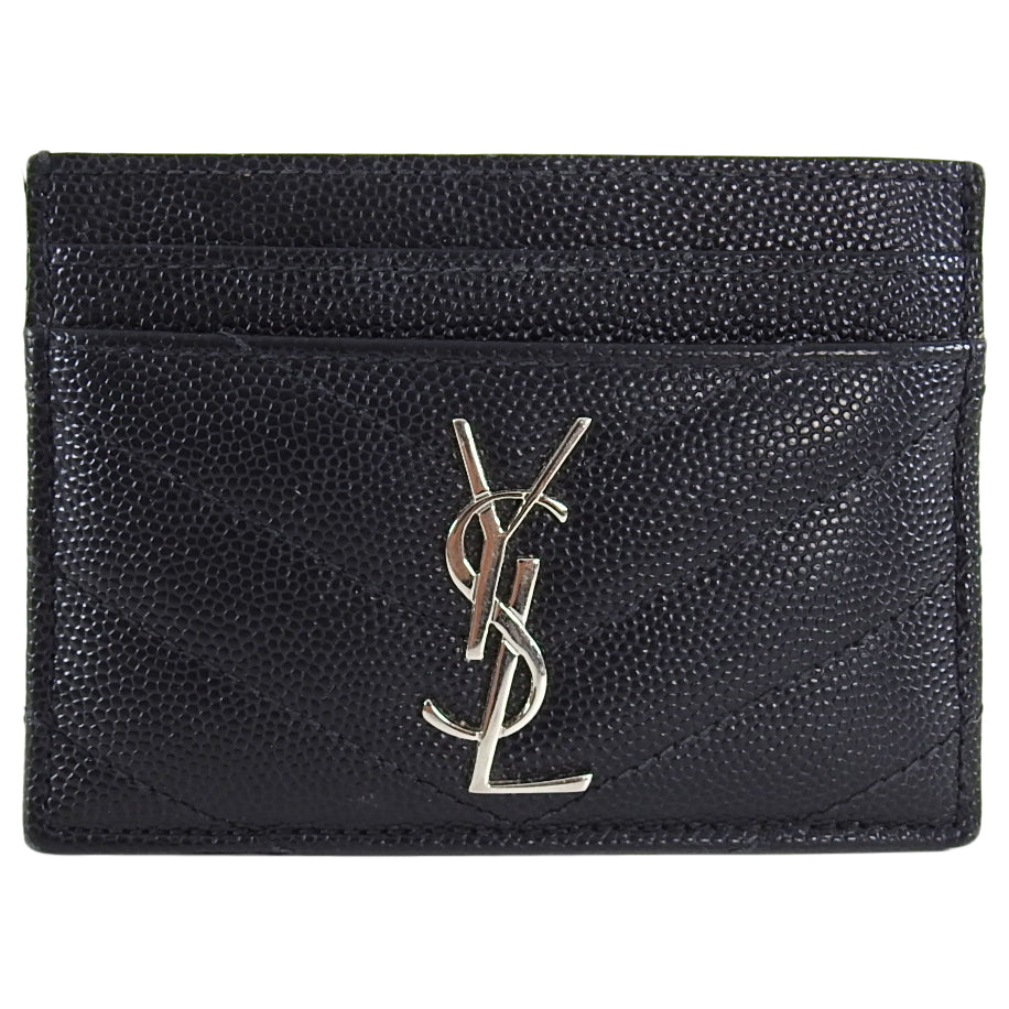 Saint Laurent Black Caviar Leather YSL Card Holder