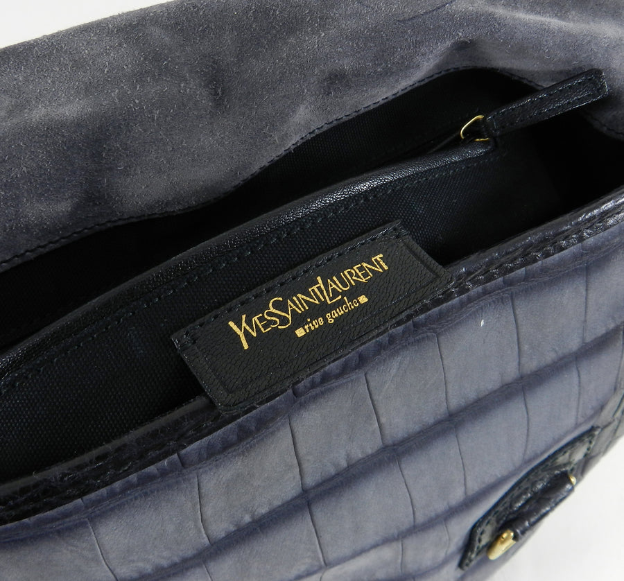 Yves Saint Laurent YSL Grey Faux Crocodile Grained Shoulder Bag