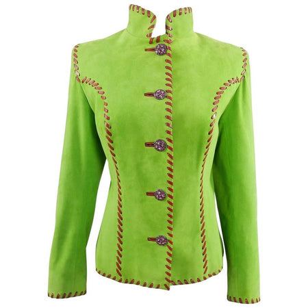 09d2d186445 Yves Saint Laurent AW 1999 Haute Couture Lime Green and Fuchsia Suede Jacket