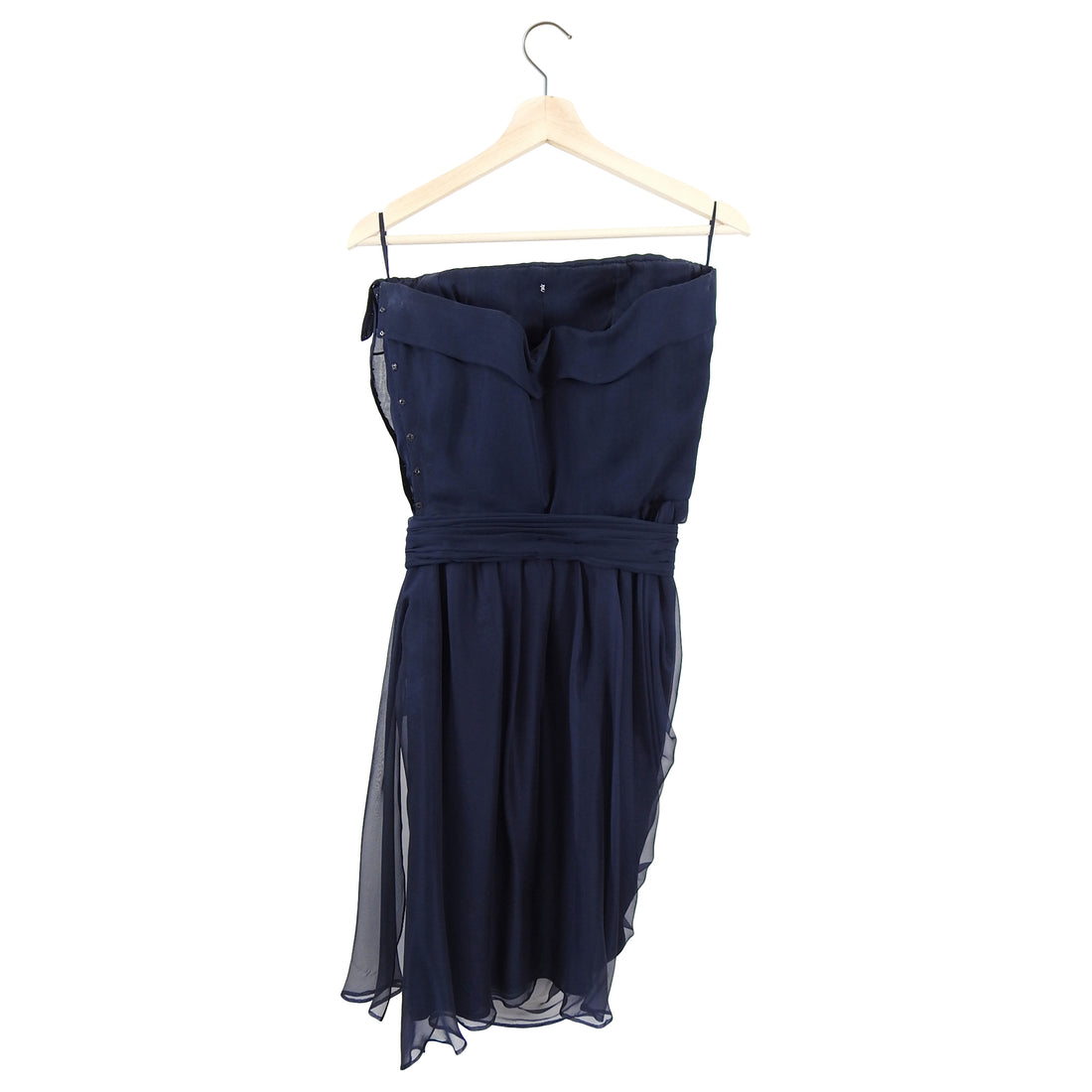 YSL Yves Saint Laurent Vintage 1990's Haute Couture Navy Silk Strapless Dress - 6