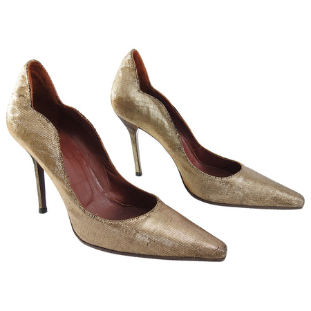 Yves Saint Laurent Vintage 1990's Haute Couture Bronze Lame Pumps Heels - 40