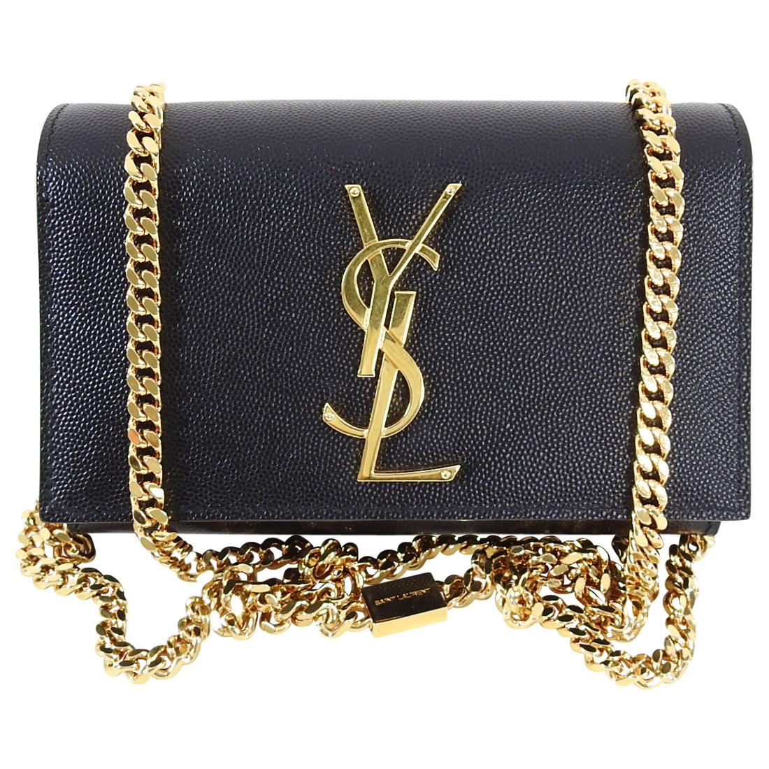 Saint Laurent Black Leather Original Small Chain Crossbody Bag