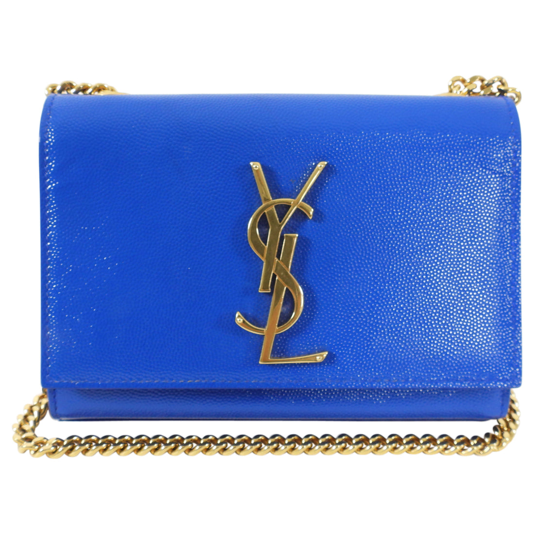 Saint Laurent Blue and Gold Mini Kate Crossbody Bag