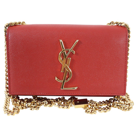 Saint Laurent Red Mini Kate Chain Strap Bag
