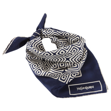 YSL Vintage 1970's Navy and Ivory Silk Square Geometric Scarf