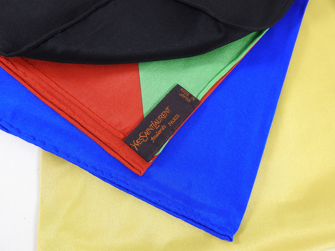 YSL Yves Saint Laurent Vintage 1990's Color Block Logo Silk Scarf