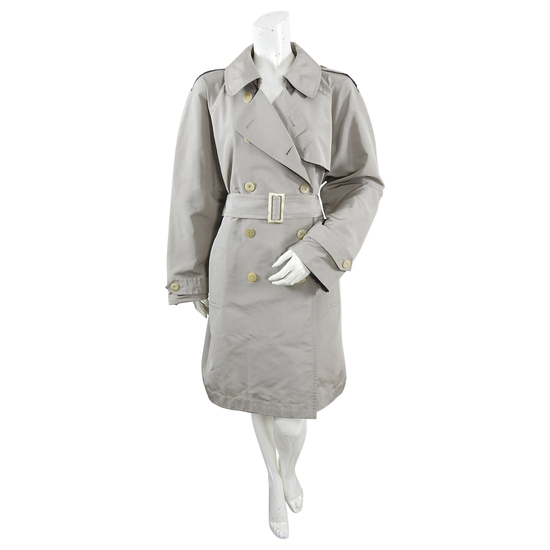Yves Saint Laurent Haute Couture Light Taupe Trench Rain Coat - M